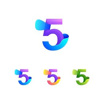 Vecteur numéro cinq coloré abstrait