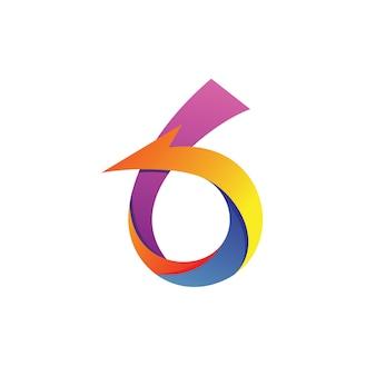 Vecteur numéro six flèche logo