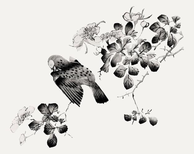 Vecteur d'oiseau perché sur une illustration d'arbre, remixé à partir d'œuvres d'art de hu zhengyan