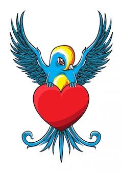 Vecteur d'oiseau valentine