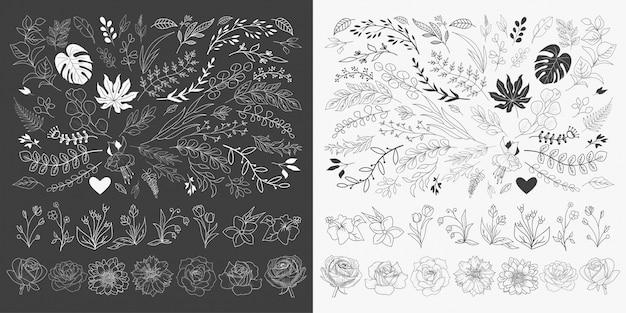 Vecteur d'ornements floraux dessinés à la main