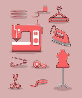 Vecteur d'outils de couture mignon