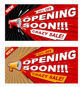 Vecteur, ouverture, bannière, modèle magasin