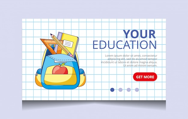 Vecteur de page d'atterrissage de l'éducation
