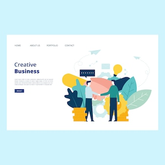 Vecteur de page web de création d'entreprise