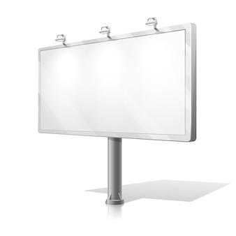 Vecteur de panneau d'affichage blanc. panneau d'affichage d'entreprise pour la publicité, panneau d'affichage commercial, publicité vierge, illustration de panneau d'affichage extérieur