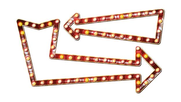 Vecteur de panneau d'affichage de flèches rétro. flèche brillante panneau de signalisation lumineuse. cadre de lampe shine réaliste. néon vintage illuminé doré. carnaval, cirque, style casino. illustration isolée