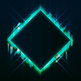 Vecteur de panneau vierge néon carré vert