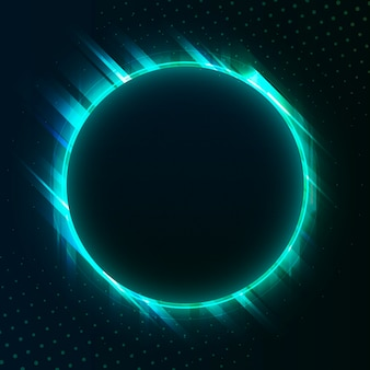 Vecteur de panneau vierge néon cercle vert