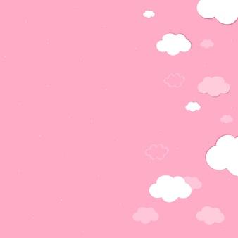 Vecteur de papier peint ciel rose avec nuages