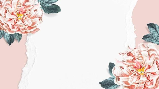 Vecteur de papier peint floral pivoine en fleurs