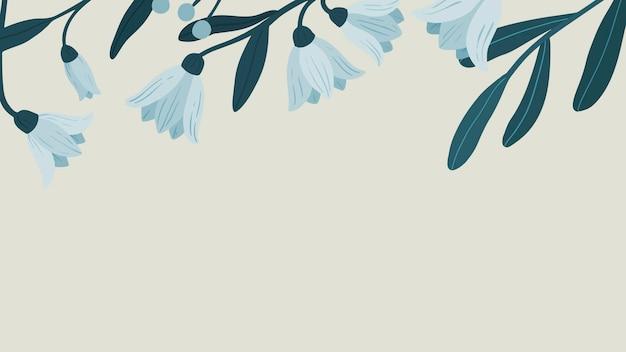 Vecteur de papier peint mobile espace copie botanique bleu