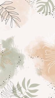 Vecteur de papier peint pour téléphone mobile aquarelle feuillu beige