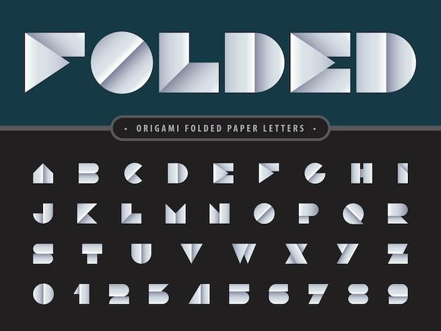 Vecteur de papier plié alphabet lettres et chiffres