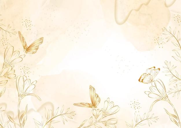 Vecteur de papillons et de fleurs avec fond d'or