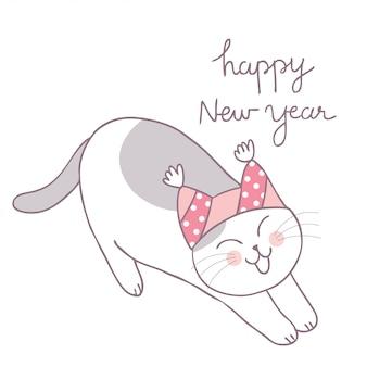 Vecteur paresseux de chat hiver mignons dessin animé.