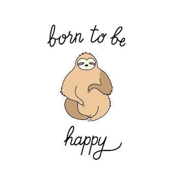 Vecteur de paresseux mignon. bébé dessin animé isolé paresseux d'escalade. affiche d'animaux de la jungle dessinée à la main