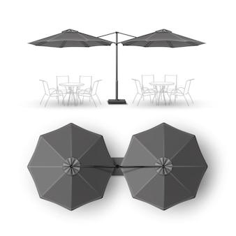 Vecteur patio vide double plage extérieure café bar pub lounge restaurant rond