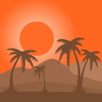 Vecteur de paysage coucher de soleil