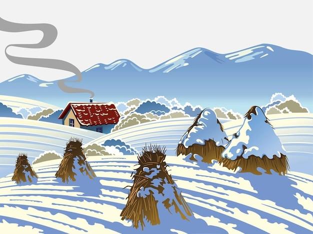 Vecteur de paysage d'hiver de nature froide