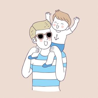 Vecteur de père et garçon mignon de bande dessinée.