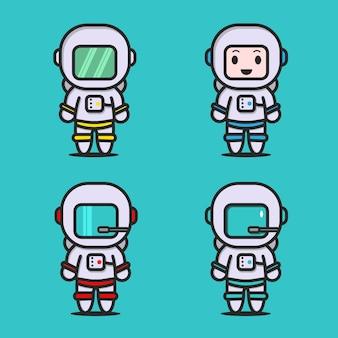 Vecteur de personnage de costume mignon astronaute