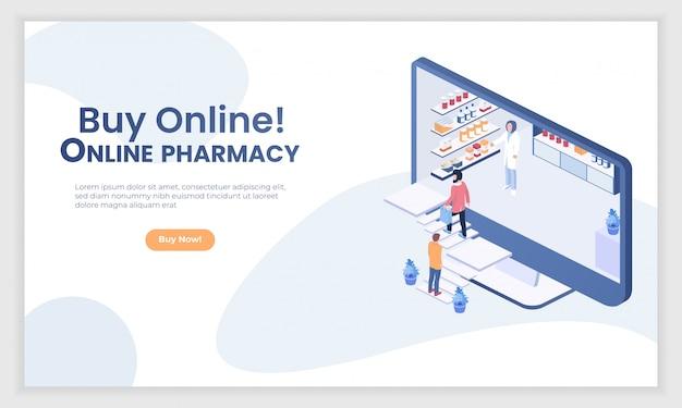 Vecteur de personnes isométrique de pharmacie internet