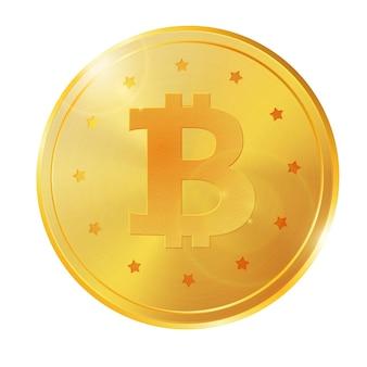Vecteur de pièce de monnaie 3d bitcoin doré réaliste