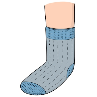 Vecteur de pied porter la chaussette
