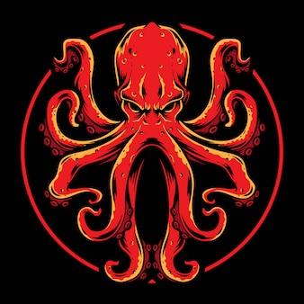 Vecteur de pieuvre rouge