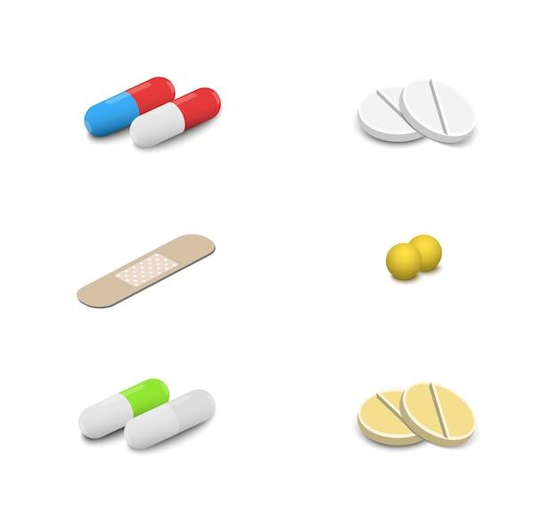 Vecteur de pilules médicales isométrique