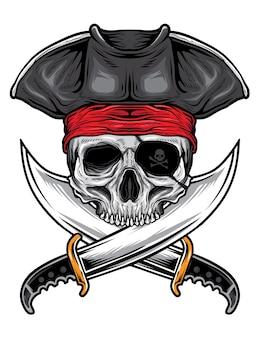 Vecteur de pirate crâne