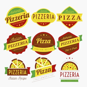Vecteur de pizza labels