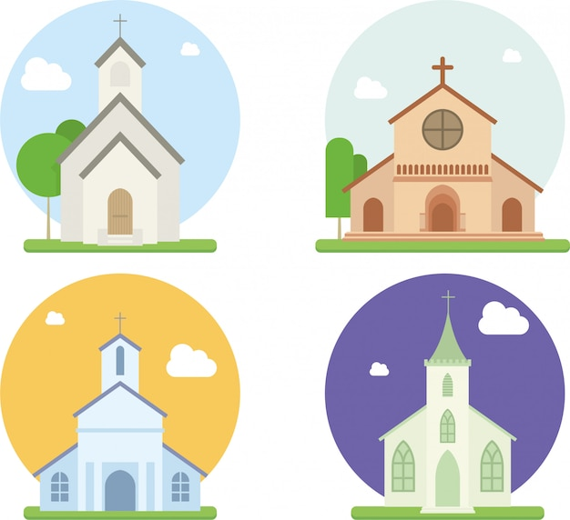 Vecteur plat de l'église chrétienne