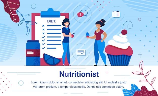 Vecteur plat de nutritionniste professionnel