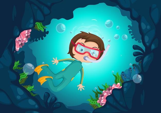 Vecteur de plongée sous-marine garçon