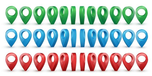 Vecteur de pointeurs de carte réaliste métallique brillant coloré situé dans divers angles.