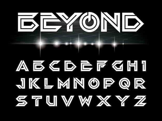 Vecteur de polices futuristes et alphabet