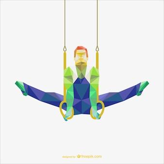Vecteur polygonale d'anneaux de gymnastique