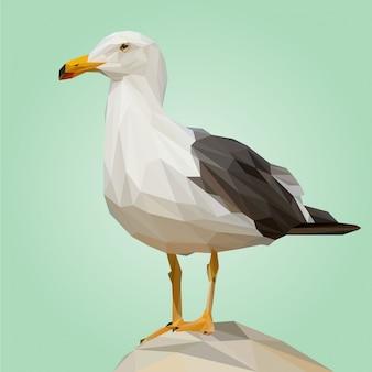 Vecteur polygonale oiseau mouette
