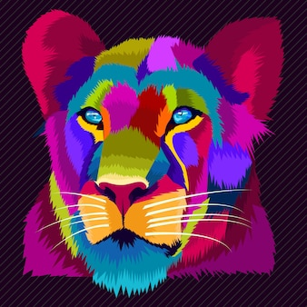 Vecteur de pop art lion coloré