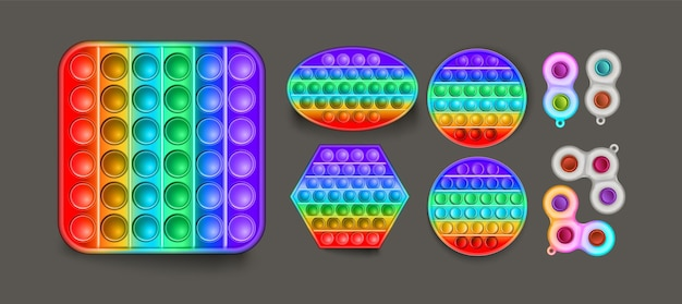 Le vecteur pop-le sous différentes formes. les bulles anti-stress à la mode se pressent. illustration vectorielle. détendez-vous pop il illustration vectorielle. jouets anti-stress pour enfants.