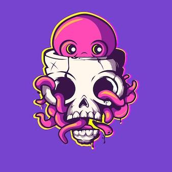 Vecteur, poulpe, intérieur, mascotte, crâne, illustration, caractère, icône