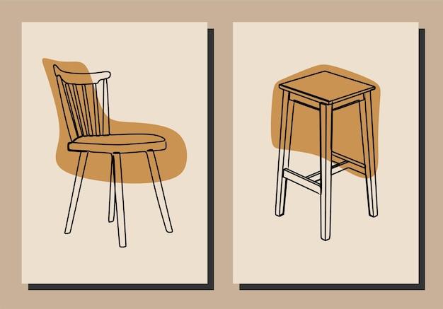 Vecteur premium d'art en ligne continue de chaise esthétique