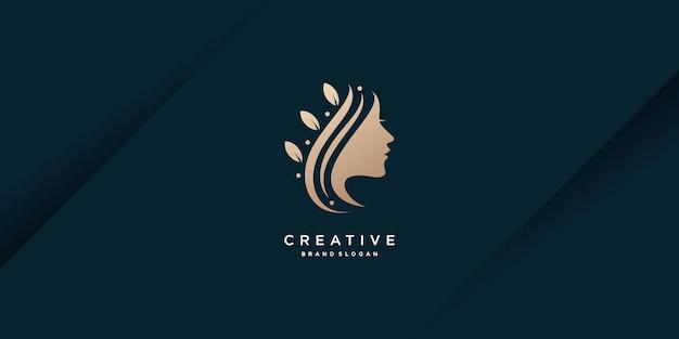 Vecteur premium de conception de logo de femme de beauté