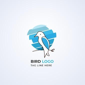 Vecteur premium de conception de logo oiseau abstrait moderne