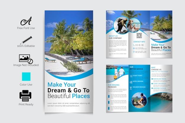 Vecteur premium de conception de modèle de brochure à trois volets de voyage