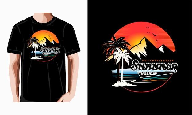 Vecteur premium de conception de t-shirt de vacances d'été