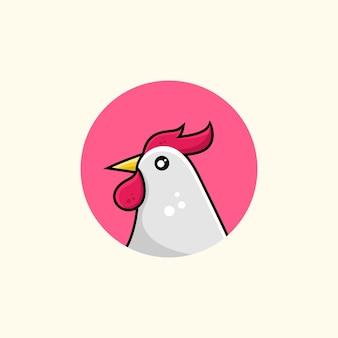 Vecteur premium d'illustration de coq de dessin animé mignon