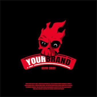 Vecteur premium illustration logo crâne rouge